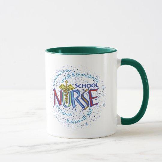 Lema de la enfermera de la escuela taza