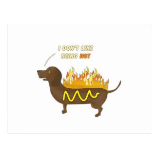 Lema divertido del chiste del perrito caliente postal