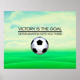 Lema SUPERIOR de la victoria del fútbol Póster