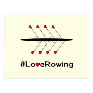 Lema y barco del Rowing del amor Postal