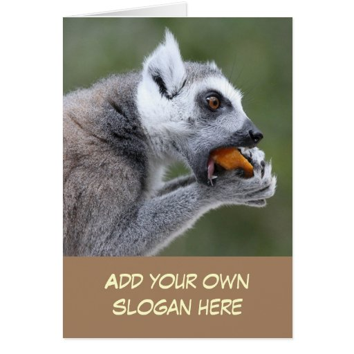 Lemur divertido con la foto del bocado para modifi felicitaciones