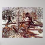 Leñadores de Carl Larsson en el bosque Póster