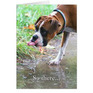 Lengua de perro tonta del boxeador que pega hacia tarjeta de felicitación