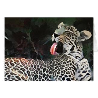 Lengua del leopardo tarjeta de felicitación