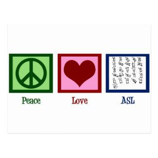 Lenguaje de signos del amor de la paz postal
