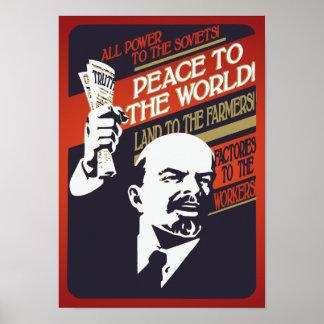 Lenin todo el poder al poster del vintage de los póster