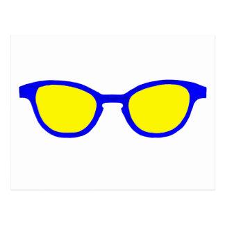 Lente azul del amarillo del borde de las gafas de postal