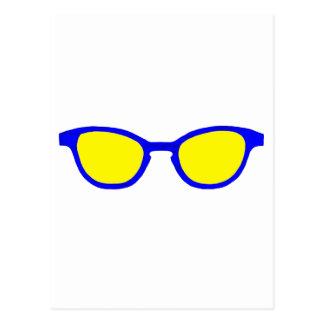 Lente azul del amarillo del borde de las gafas de tarjeta postal