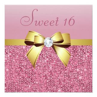 Lentejuelas, arco y dulce rosados 16 del oro del invitación 13,3 cm x 13,3cm