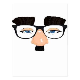 Lentes y cara con el bigote postal
