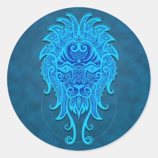 Leo tribal azul complejo pegatina redonda