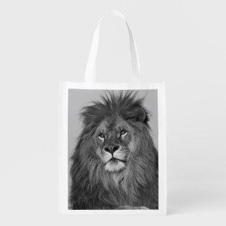 León africano que descansa sobre el acantilado de  bolsas reutilizables