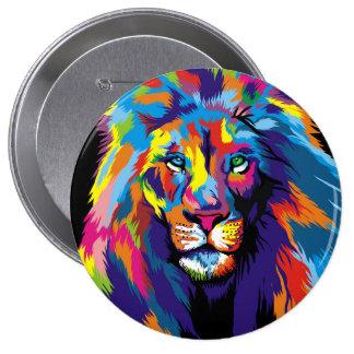 León colorido chapa redonda de 10 cm