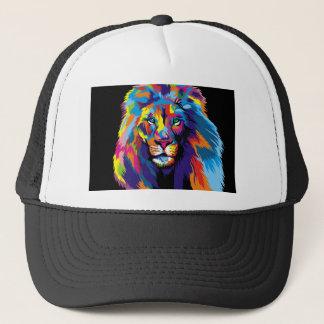 León colorido gorra de camionero