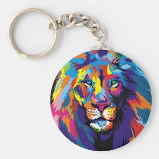 León colorido llavero redondo tipo chapa