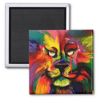 León colorido pintado con tinta del tatuaje imán cuadrado