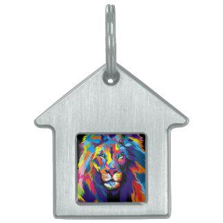 León colorido placa para mascotas