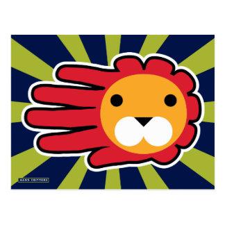 León crinado rojo postal