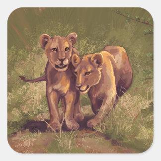 León Cubs Pegatina Cuadrada