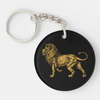León de oro llavero redondo acrílico a doble cara