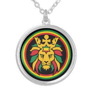 León de Rastafari Dreadlocks de Judah Collar Plateado