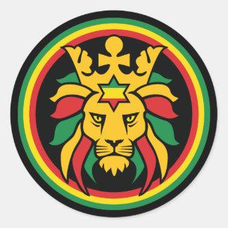 León de Rastafari Dreadlocks de Judah Pegatina Redonda