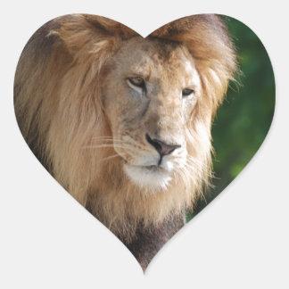 León de vagabundeo pegatinas corazon personalizadas