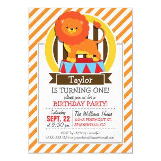 León del circo; Rayas anaranjadas y blancas Invitación 12,7 X 17,8 Cm
