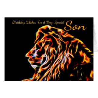 León del cumpleaños del fractal del hijo, línea de tarjeta de felicitación
