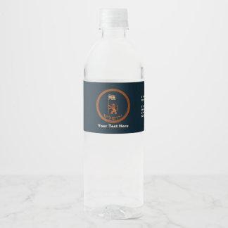 León del día de Jerusalén con la bandera Etiqueta Para Botella De Agua