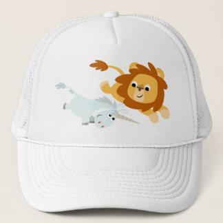 León del dibujo animado y gorra lindos del