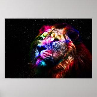 León del espacio - león colorido - arte del león -