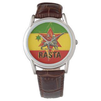 León del reloj de Rasta del diseño rojo del verde