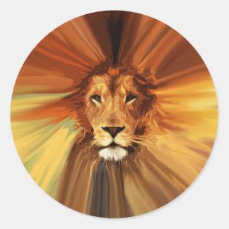 León feroz abstracto pegatina redonda
