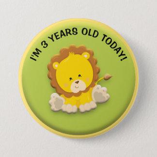 León lindo en el botón verde del cumpleaños
