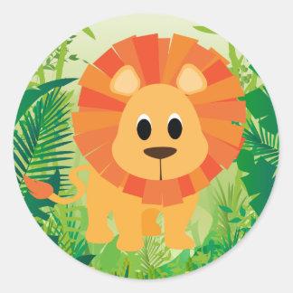 León lindo etiquetas redondas