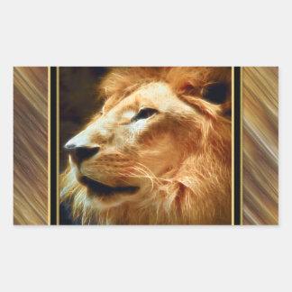 León majestuoso de Thee Pegatina Rectangular