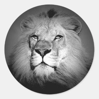 León negro y blanco etiquetas redondas