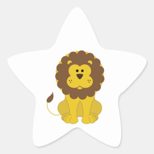 León Pegatina Forma De Estrella Personalizada