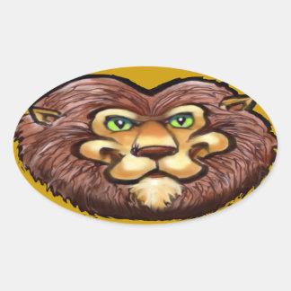 León Pegatina Ovalada