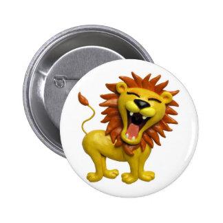 León que ruge chapa redonda de 5 cm