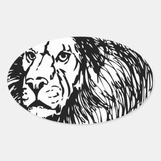 león - rey de la selva pegatina ovalada