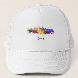 Leon skyline in watercolor gorra de camionero