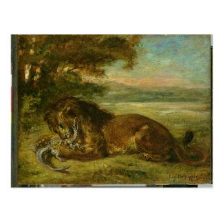 León y cocodrilo, 1863 postal