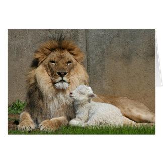 León y cordero tarjeta de felicitación