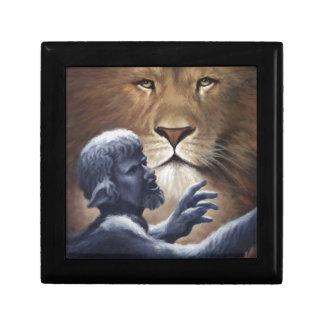 León y estatua cajas de recuerdo