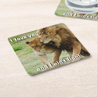 León y leona posavasos cuadrado de papel