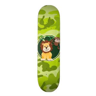León y mono camo verde claro camuflaje patines personalizados