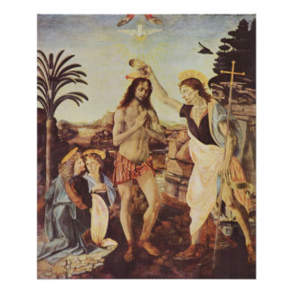 Leonardo de da Vinci - El bautismo de Cristo Posters