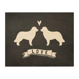 Leonberger siluetea amor impresión en madera